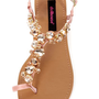 Dollhouse Radiant Rose Gold Rhinestone Studded Thong Sandals