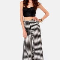Jailhouse Rock Black and Ivory Striped Pants