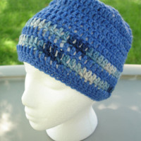 Slouchy Beanie in Blue with Variegated Stripes