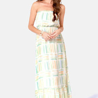 Quiksilver Coastal Splash Strapless Print Maxi Dress