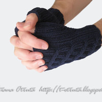 Navy Blue Fingerless Gloves, Mitts, Dark Blue, Unisex, Wool, Gift under 50, FREE SHIPPING, Hand Knitted,  Male, Female, Original design
