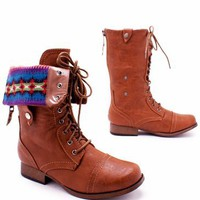 fair isle cuffed combat boot &amp;#36;29.10 in BLACK NATURAL WHISKY - New Shoes | GoJane.com