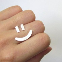 Happy Face Ring Adjustable Sterling Silver Rings - On Sale