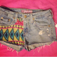 hipster colorful tribal frayed shorts. low waist