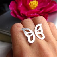 Butterfly Ring Adjustable Sterling Silver Ring on sale