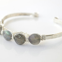 Labradorite Bangle Bracelet, Sterling Silver Cuff Bracelet, Labradorite Bracelet, Sterling Silver Bangle