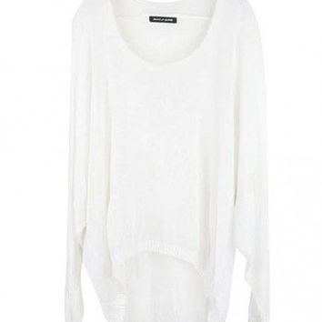 Sheer Batwing Sleeved Weave Jumper