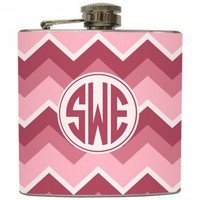 "Liquid Courage Flasks: ""Pink Circle Monogram"" - Personalized Flask with Your Initials on Chevron Stripe"