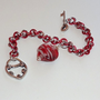 Heart Charm Red with White Stripes Lampwork Bead Chainmaille Bracelet