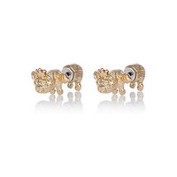 gold tone flying pig stud earrings