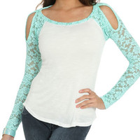 Lace Sleeve Baseball Tee | Shop Way Out West at Wet Seal