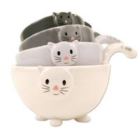 Amazon.com: Cat Kitten Measuring Cups / Bowls for Baking, Black White Grey, Ceramic: Kitchen & Dining