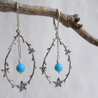 Sterling Silver Twig and Blossom Turquoise Earrings