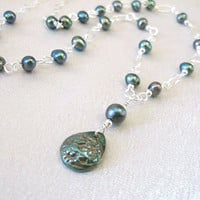 Fine Silver Flower Pendant Necklace Green Freshwater Pearls Sterling Silver