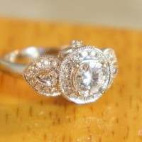 Heirloom petals ring  Diamond and pave 14k by TheVintageGoldsmith