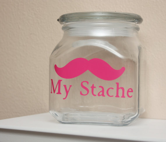 My Stache  Mustache Money Jar  Hot Pink by TheBeautifulHome