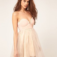 Lighht Pink Reverse Dress With PVC Bustier And Lace Skirt at ASOS