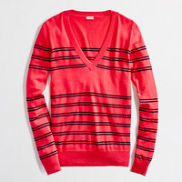 Factory stripe cotton V-neck sweater