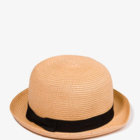 Pleated Straw Bowler Hat
