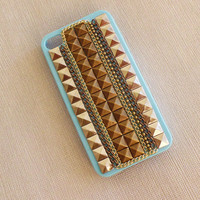 Studded iphone case,iphone 4 case,iphone 4S case,Cover,studs with metal Chain  iPhone 4/4S Case,Hard blue case for iphone 4/4S