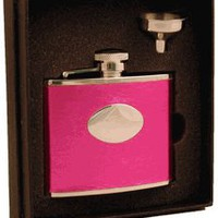 Visol &quot;Temptation&quot; Hot Pink Leatherette 4oz Flask Gift Set