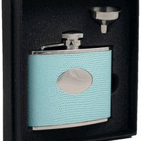 "Visol ""Stella"" Light Blue Synthetic Leather 4oz Flask Gift Set"