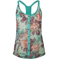 LOTTIE & HOLLY Floral Racerback Womens Sleeveless Top 208699957 | Blouses & Shirts | Tillys.com