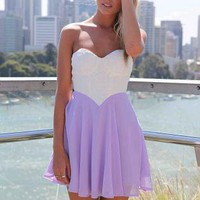 White&amp;Purple Strapless Dress with Lace Bodice&amp;Cutout Back