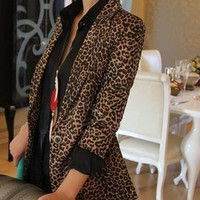 MP-Fashion — Slim Fit Single-Button Leopard Print Blazer