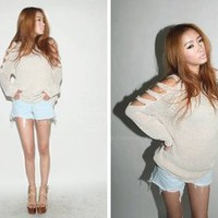 MP-Fashion — Shoulder Rip Sweater