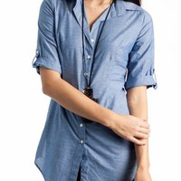 button-up shirt &amp;#36;20.70 in BLUE GREY - New Tops | GoJane.com