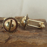 Steampunk Cufflinks Brass Gear and Screw Head by ShellsNStuff