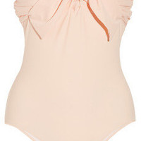 Miu Miu|Bow-embellished bandeau swimsuit|NET-A-PORTER.COM