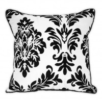 Wake Up Frankie - Flocked Damask Dec Pillow - White - Flocked Damask Dec Pillow -White