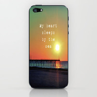 My Heart Sleeps By The Sea iPhone &amp; iPod Skin by Ally Coxon | Society6
