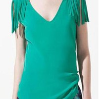 Green V-neck Tassel Shoulder Blouse S009948