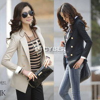 2012 OL Women's Lapel  Double-Breasted Casual Slim Blazer Jacket Coat 2 Size New