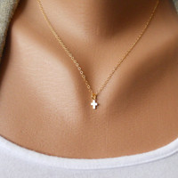 Tiny Cross Necklace in Gold by morganprather on Etsy
