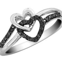 Black Diamond Double Heart Promise Ring in Sterling Silver: Jewelry: Amazon.com