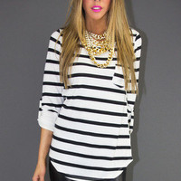 STRIPE 3/4 SLEEVE SHIRT - Black / White