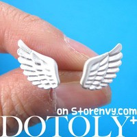 Angel Wings Feather Stud Earrings in Sterling Silver from Dotoly Plus
