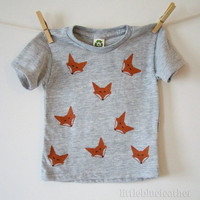 Fox Screen Printed Eco Friendly Toddler by littlebluefeather