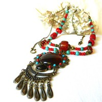 Bollywood Style Two Stranded Resin and Coral Beaded Pendant Necklace