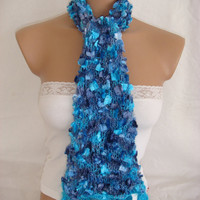 StOcK CleAranCe SaLe-60% OFF-WAS 23.90USD-Hand knitted&crocheted blue elegant scarf