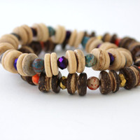 purple and blue bracelet coconut wood stretch heishi bracelet fire polished czech glass and jasper chunky