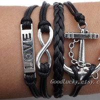 Infinity LOVE lovers braceletsilver 8 infinity by goodlucky