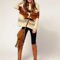 Women Aztec Knitted Scoo...