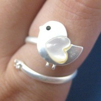 Adjustable Bird Animal Wrap Ring in Silver with Heart Shaped Wings