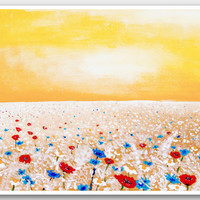 Painting print Yellow summer / Floral sunny art / Red poppy field / Landscape painting reproduction / Home decor wall art A3 size 17x12