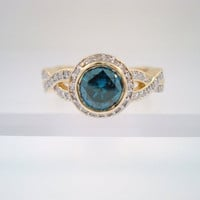 130ct  Blue & White Diamonds Engagement  Ring 18K by JewelryByGaro